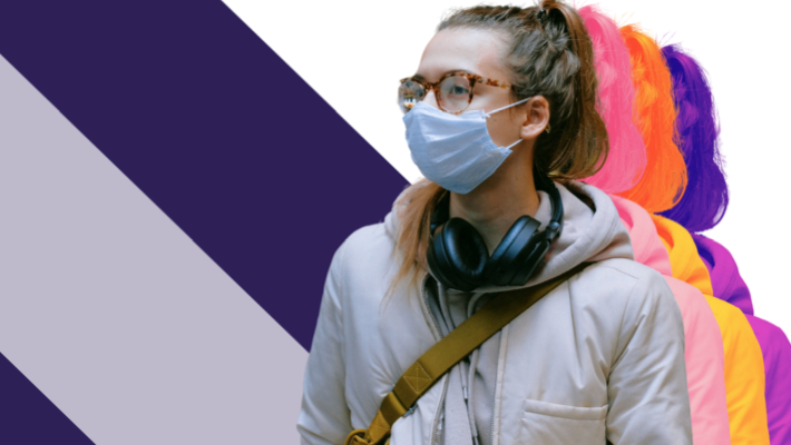 Young woman wearing a medical mask. This is the cover image of the ILO survey report 'Youth and COVID-19'.